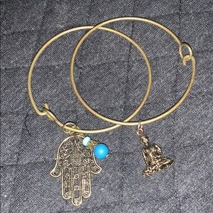 Jewelry - Hamsa And Buddha Antique Brass Charm Bracelets
